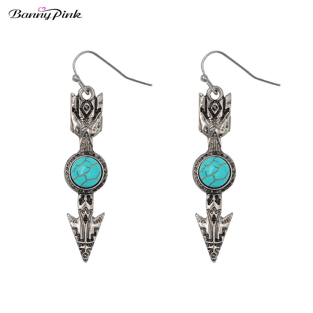Banny Pink Vintage Metal Arrow Dangle Earrings For Women Ethnic Geometric Stone Statement Drop Earrings Bohemia Earrings Brincos