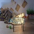 LED Sea Blue Bottle Clip Desk Lamp 110v-220v Line Length 120 Cm Smoke Gray Handmade Glass Desk Light Deer Wood Frame Table Lamps