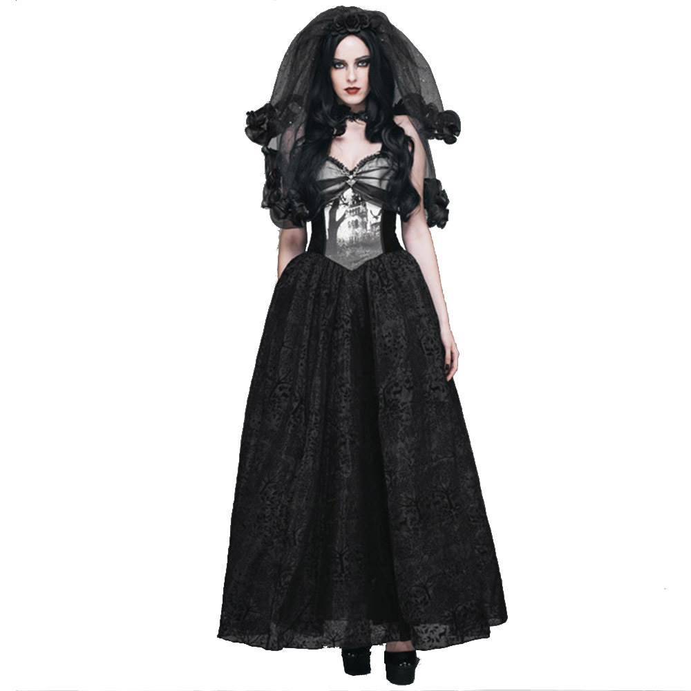 Gothic Spaghetti Strap Party Dress Steampunk Sleeveless Maix Ball Gown Black Long Dresses Halloween Costumes