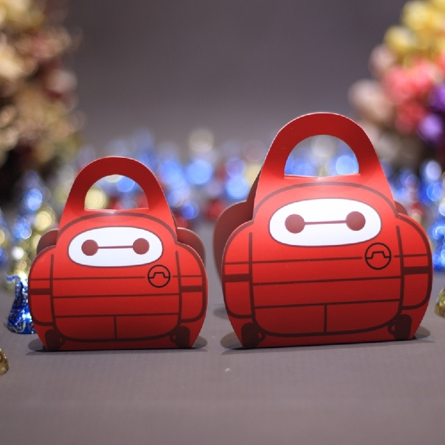 50pcs Red Big Hero 6 Baymax Baby Shower Candy Box Kids Birthday Party Wedding Favors Boxes Gift Paper Decoration
