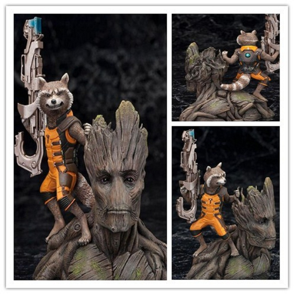 1/10 Scale Marvel Guardians of the Galaxy Tree Man & Rocket Raccoon PVC Action Figure treeman Collectible Model Toy 14CM