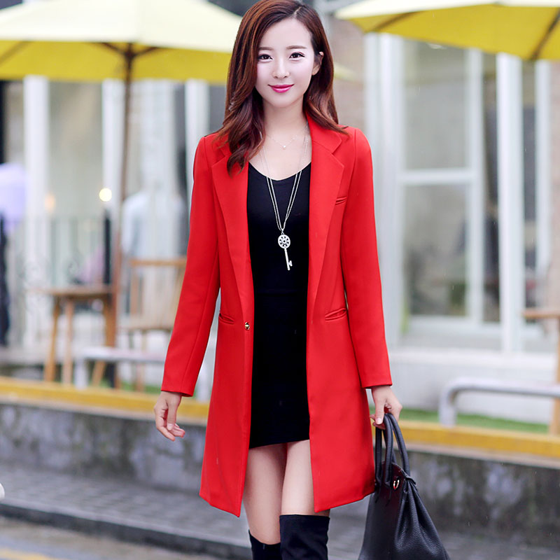 Spring and autumn new women's long-sleeved OL Korean temperament wild leisure long section Slim suit jacket