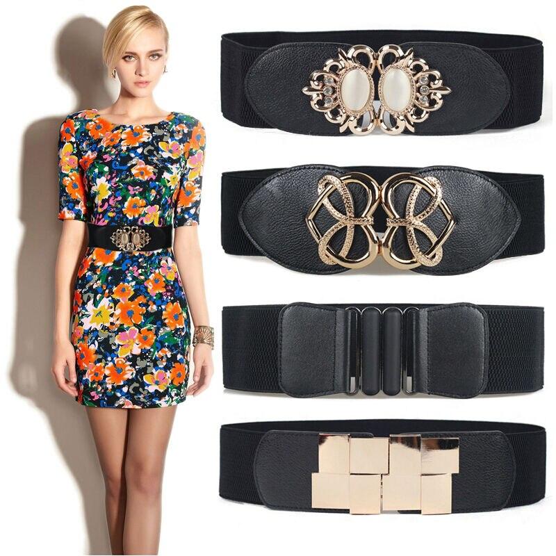 Newest Opal Gem Dress Cummerbund Punk Heart Buckle Cummerbunds HOT Wide Elastic Girdle Strap Black Waist Belt Women Gold Buckles