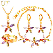 U7 Luxury AAA Cubic Zirconia Jewelry Set For Women Wedding Accessories Trendy Colorful Star Wedding Jewelry Sets For Brides S771(China)