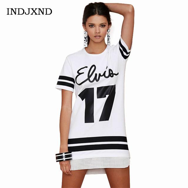 Número 17 Carta de Moda de Impressão Camisas Escavar Hem Mulheres Camisas longas T Camiseta de Manga Curta Black White Stripe Roupas S177