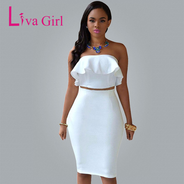 Liva Girl Autumn Sexy White Club Midi Dress Women Two Piece Sets