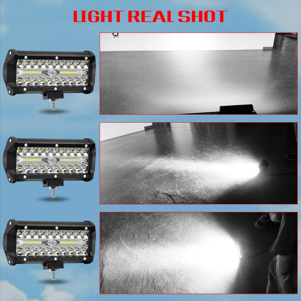 Image 4 - 7 Inch 120W two Rows Led Light Bar 6000K 12000LM Modified Off Road Roof Light Bar Car Work Light Daytime Running Lights-in Light Bar/Work Light from Automobiles & Motorcycles