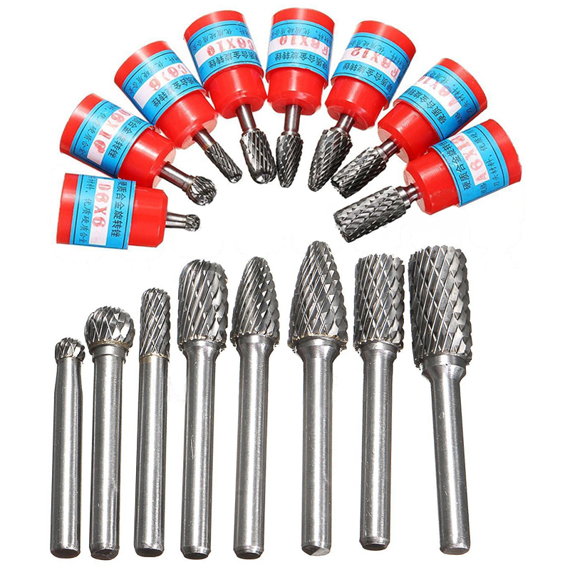 New 8pcs/set 1/4 6mm Tungsten Carbide Burr Bits Rotary Files CNC Engraving Tool Set For Rotary Tools