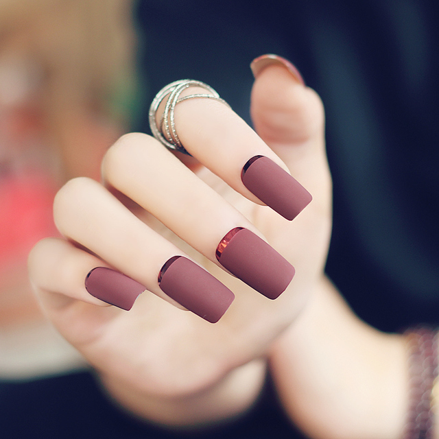 Brown Red Scrub Fake Nails Long Overturn French Finger Nails with ...