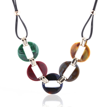 Colorful Acrylic Beads Pendant Necklace Popular Wax Rope Necklace Statement Geometric Collar Choker Women Sweater Chain graceful beads geometric hollow out sweater chain for women