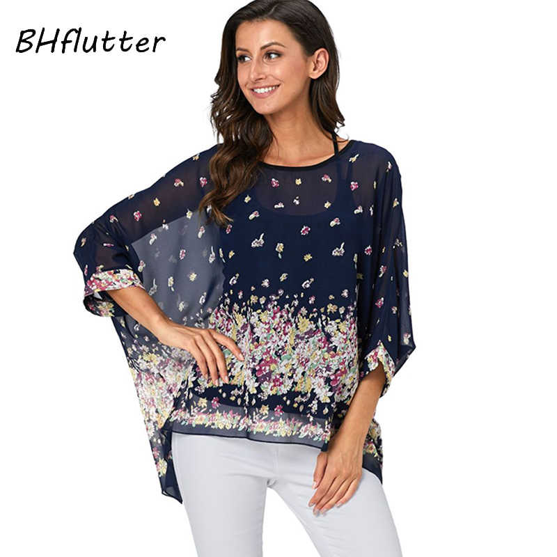 BHflutter 4XL 5XL 6XL בתוספת גודל 2019 חולצה חולצה נשים אופנה פרחוני הדפסת שיפון חולצות גבירותיי אלגנטי קימונו קיץ חולצות