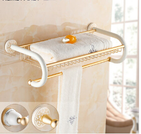 Wall Mounted white and Gold Towel Holder Aluminum Alloy Bathroom Accessories Towel Racks Towel Shelf free shipping wall mounted space aluminum black golden paper towel shelf phone toilet paper holder