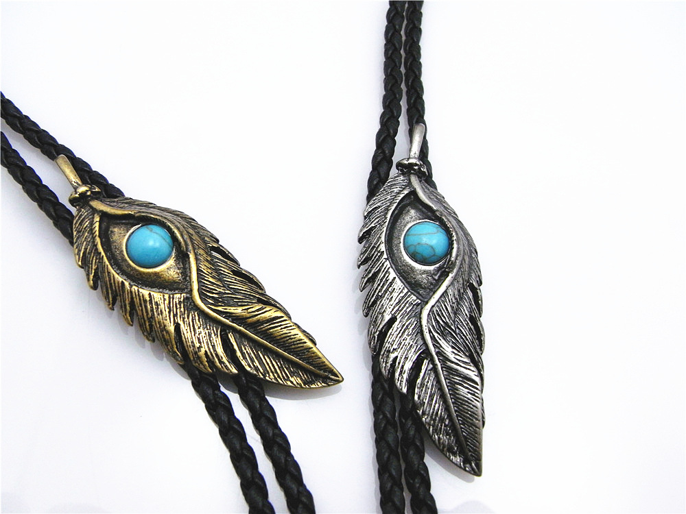 Bolo Tie New Retro Shirt Chain Blue Stone Eye Feather Poirot Collar Leather Necklace Long Tie Pendant