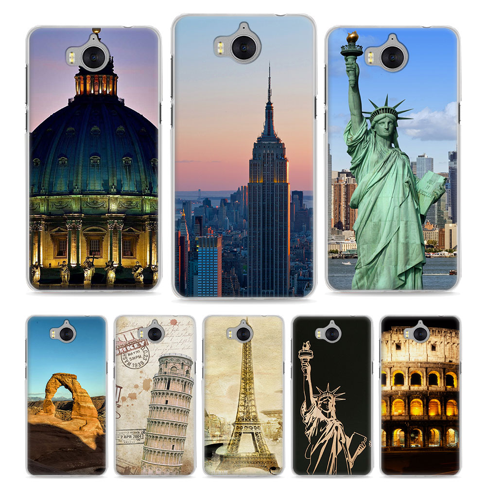 MOUGOL fashion City buildings at night Style clear hard Phone Case Cover for Huawei P20 P10 Lite P Smart Y3 Y5 2017 Y6 ii