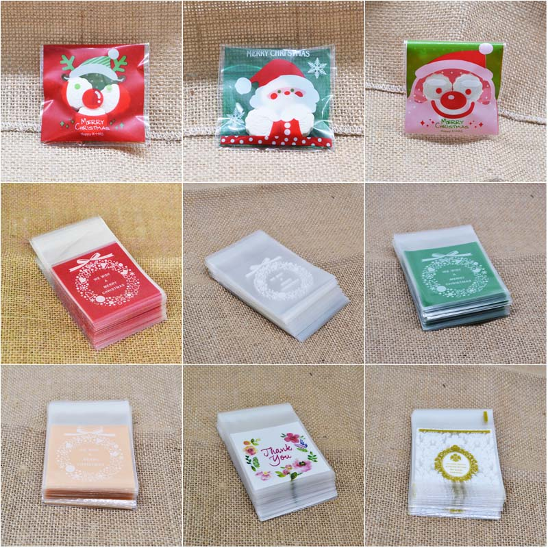 100Pcs Christmas Cookie Candy Package Gifts Bag DIY Self Adhesive OPP Bags For Xmas Home Party Packing Decoration Baking Supply