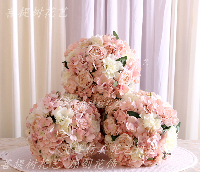 New pink artificial silk hydrangea rose flower ball