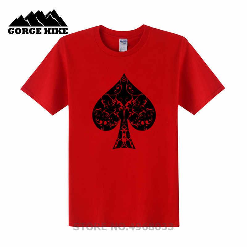 כושר מזדמן T חולצה Ace של ספייד פרחוני שבטי Spades פוקר מסורק כותנה לנשימה Slim Fit Tshirt הומוריסטי סגנון חולצה