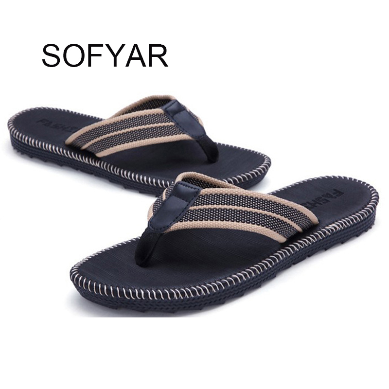 67ff253a821d 2017 Rubber Sole Beach sandals Mens Casual flip-flops beach Sandals Size  39-45
