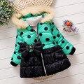Novo inverno Quente Menina Casaco Moletom Com Capuz Casuais Jaqueta de Roupas de Bebê Roupas de menina para 2-5 Anos Crianças Polka Dot Arco Princesa Outerwear