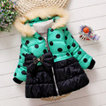Winter New Warm Girl Coat Hoodie Casual Jacket Baby Clothing Girl Clothes for 2-5 Years Kids Polka Dot Bow Princess Outerwear