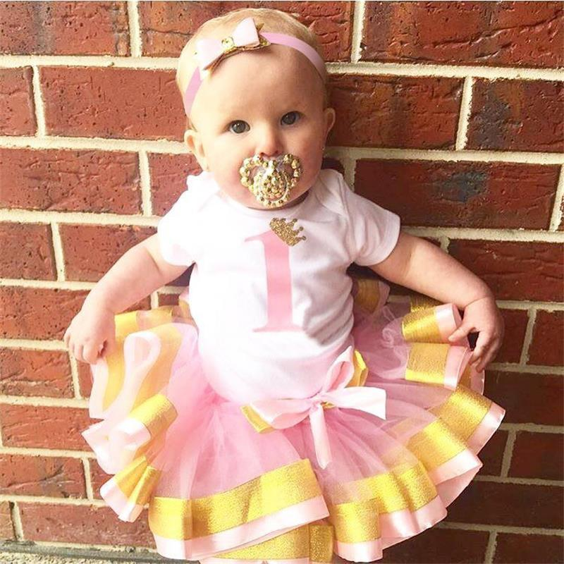 Aini Babe 1 Year Baby Girls Mini Tutu Dresses 1st Birthday Party Lovely Wear Girls Baptism Clothing 3Pcs Infantil Cute Outfits
