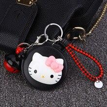 3a67b8656 Moda de dibujos animados Hello Kitty espejo cosmético llavero gatito  llavero titular monedero bolsa chica encanto