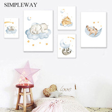 Baby Nursery Wall Art Canvas Poster and Print Painting Woodland Animal Decorative Picture Nordic Kid Children Bedroom Decoration цена