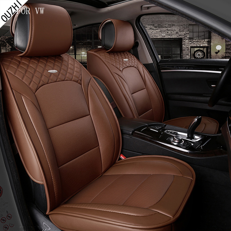 waterproof pu leather car seat cover for Volkswagen vw polo golf 4 7 touran vw passat b5 b6 front rear full universal car