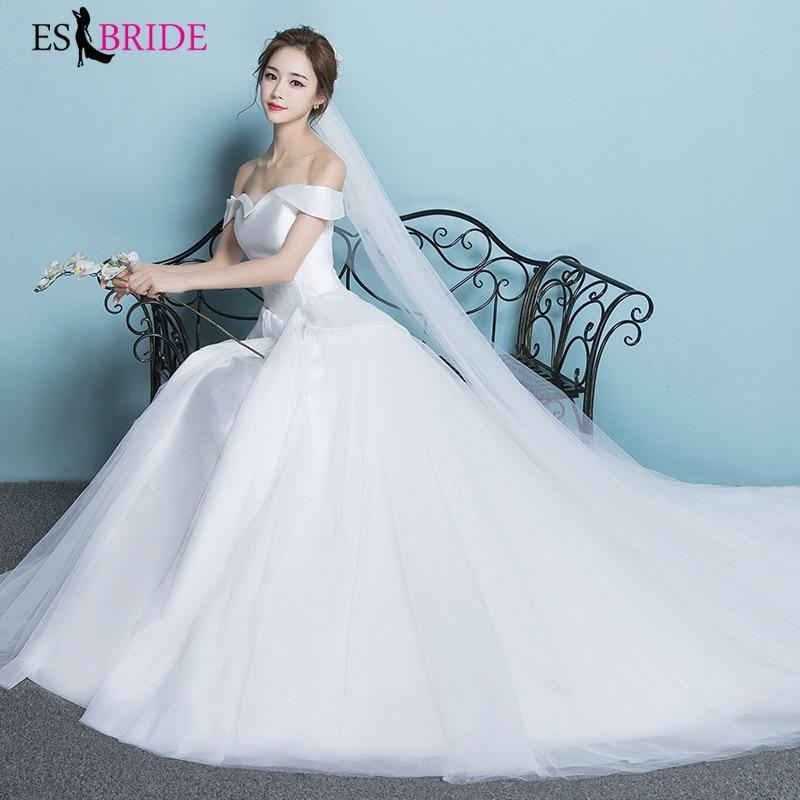 Elegant Princess Wedding Dresses Simple White Short Sleeve Plus Size Wedding Bride Bridal Gowns 2019 New Weeding Dress ES1815