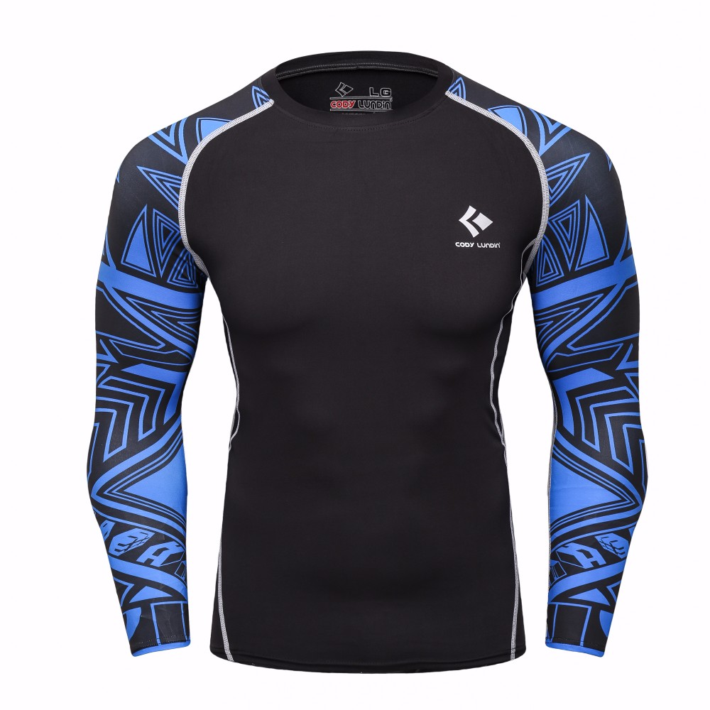 Muscle Men Compression Tight Skin T Shirt Long Sleeve 3D Print T-Shirt Rashguard Fitness Base Layer Crossfit Male Tops SportWear