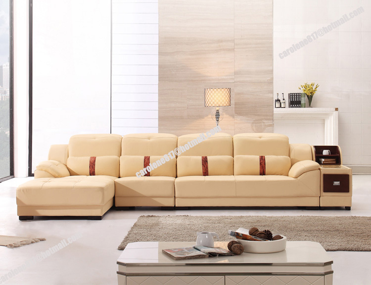 Modern Beige Cheap L Shaped Geniue Split Leather Free Combination Sofa Set Furniture For Living