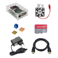 Raspberry Pi 3 Starter Kit Acryllic Case 16 G SD TF Card CPU Cooling Fan Copper
