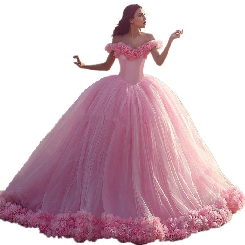 Dress Cloud Pink Ball Gown Wedding Dresses Off the Shoulder Backless African Wedding Gowns vestido de novia plus size 2016 (2)
