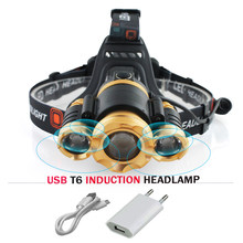 Zoom headlamp IR Sensor Induction Headlight cree XML t6 led head lamp Micro USB charge head torch 18650 Lanterna light hoofdlamp(China)