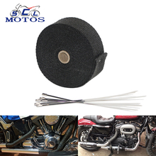 Sclmotos-5 10 15M Black Color Moto Exhaust Pipe Header Heat Wrap Resistant Downpipe Thermo Turbo for Car Motorcycle