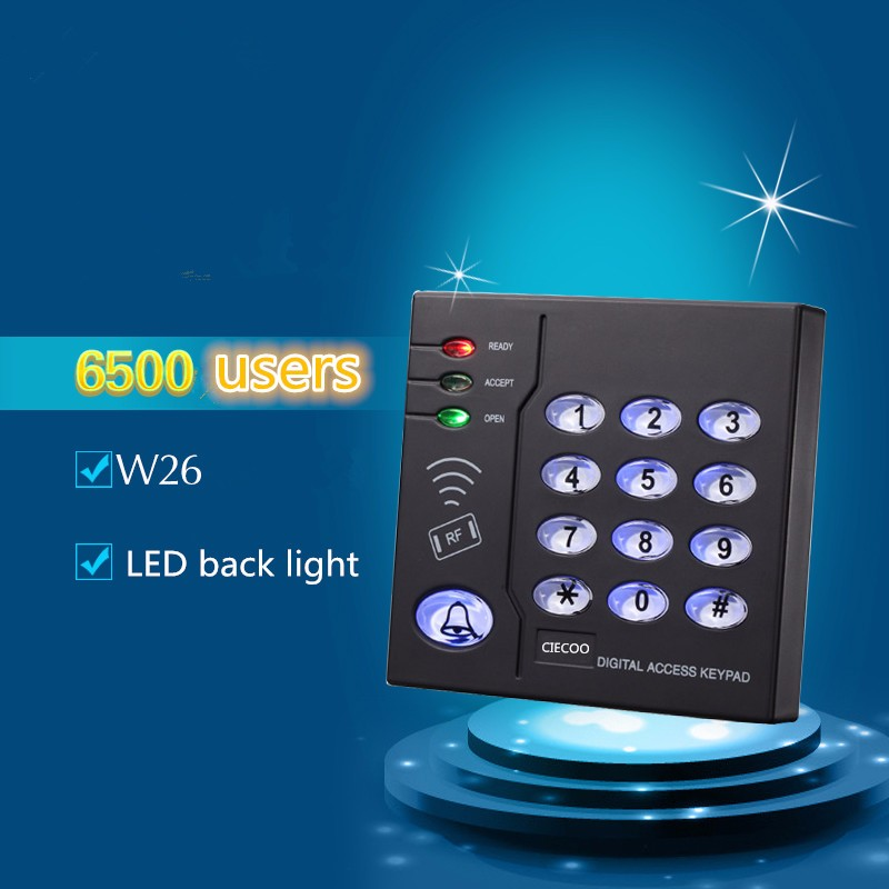 6500 users W26 LED black light RFID reader standalone access controller125Khz Card Reader EMID Reader Card Reader with Keypad