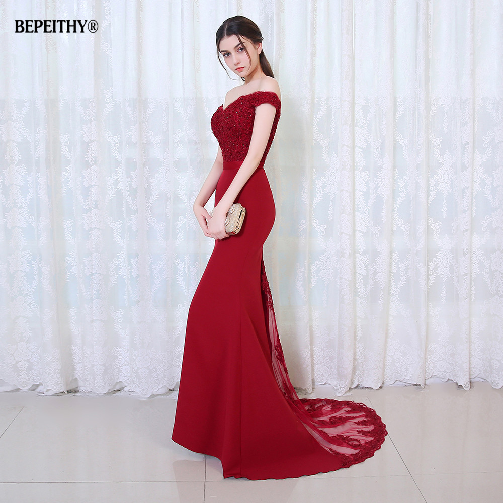 BEPEITHY Robe De Soiree Mermaid Burgundry Long Evening Dress Party Elegant Vestido De Festa Long Prom Gown 2020 With Belt