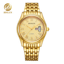 цена BINLUN Mens Gold Black White Wrist Watch Waterproof Automatic Mechanical Watches for Men with Date онлайн в 2017 году