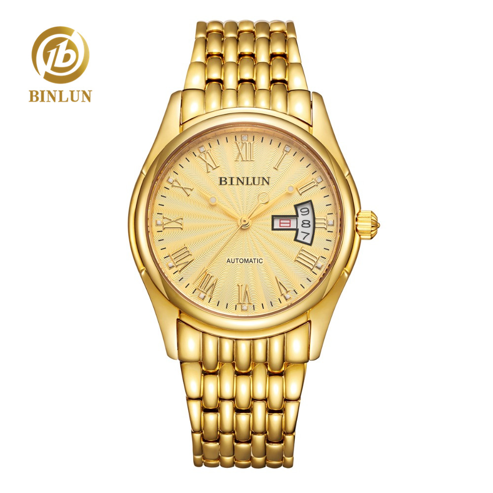 BINLUN Luxury 18K All Gold Herrenuhr Datum Datum Anzeige Sapphire - Herrenuhren - Foto 1