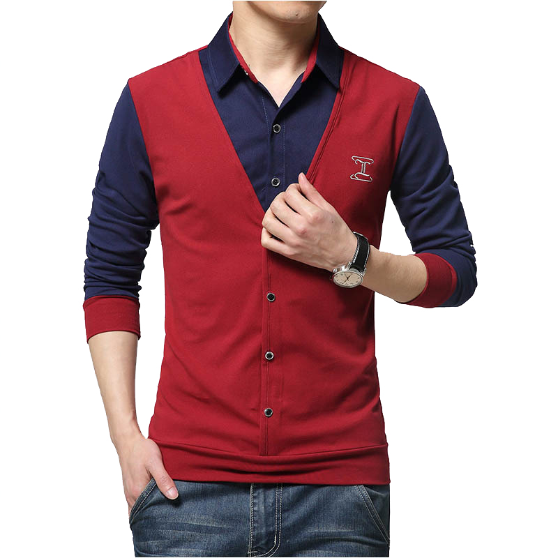 2018 New Autumn Fashion Patch Design Men's   Shirt     T  -  shirt   Fake Two Long Sleeve Turn-down Collar Cotton   T     Shirt   for Men 5XL