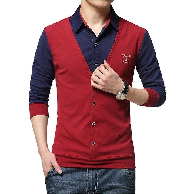 3b7b03119c 2018 nowa moda jesień plaster projekt koszula męska koszulka fałszywy dwa  długim rękawem ścielenia kołnierz bawełna