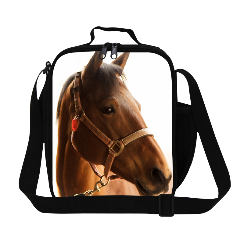 Insulated Horse Lunch Bag For Men Animal 3D Print Lunchbag For Kids Thermal Lunch Box Bolsa Termica Student Food Shoulder Bag