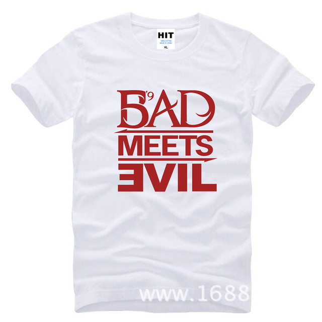 Eminem Bad Meets Evil rap rock Men's T-Shirt T Shirt For Men 2015 New Short Sleeve Cotton Casual Top Tee Camisetas Masculina 2