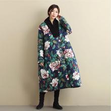 лучшая цена Oriental Asian China Japan Korea Cotton padded jacket loose retro winter Comfort Edition Large Size Linen peony Pattern Coat