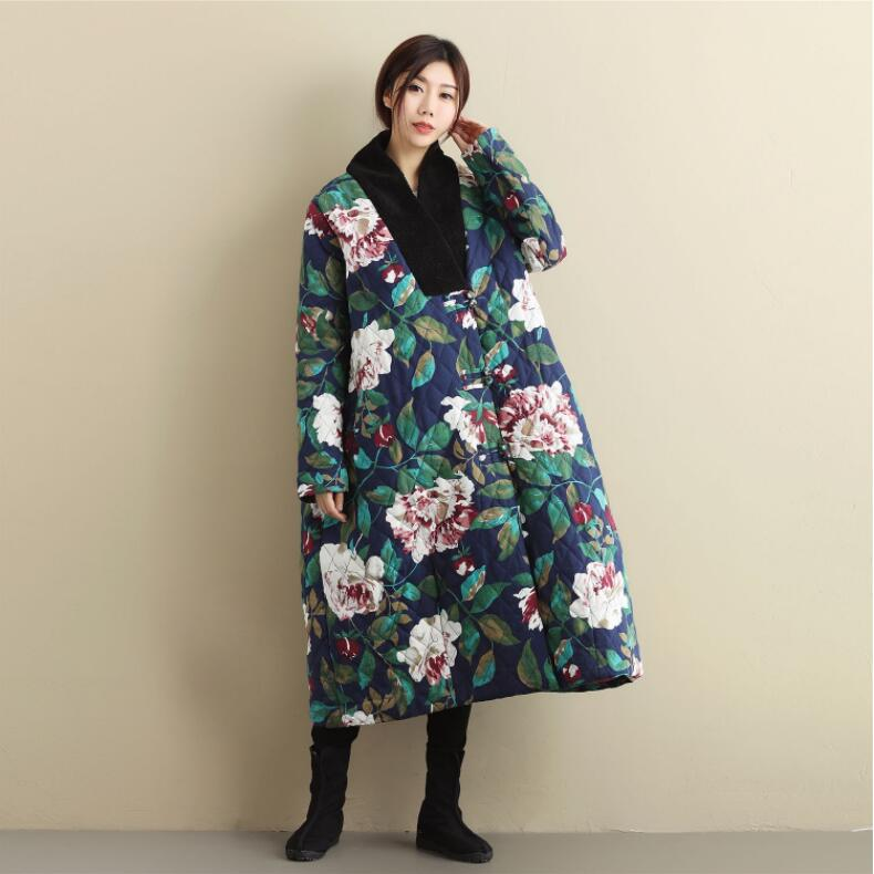 Oriental Asian China Japan Korea Cotton padded jacket loose retro winter Comfort Edition Large Size Linen peony Pattern Coat