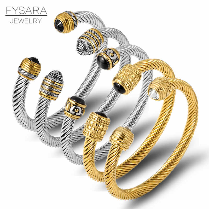 FYSARA Brand Multi Design Twisted Cable Wire Bangle Vintage Fashion Bangles Silver Cuff Bracelet Unique Designer Christmas Gift