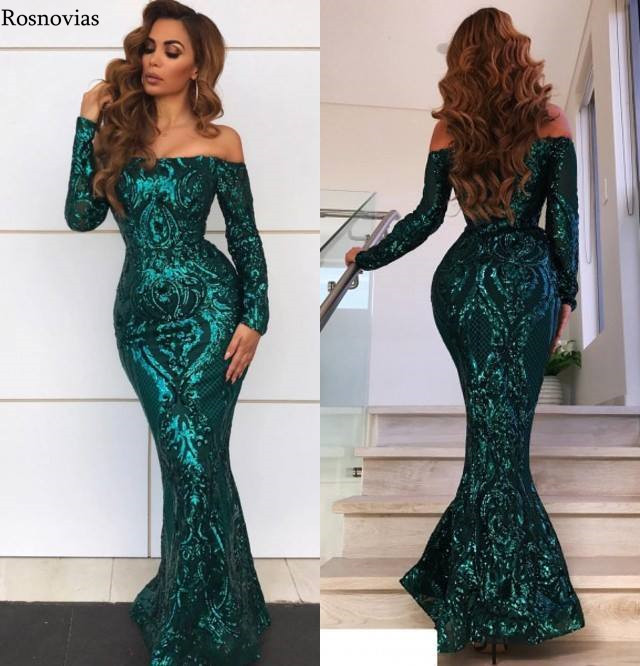 Vintage Off Shoulder Mermaid Evening Dresses Long Sleeves Zipper Back Appliques Beaded Formal Party Prom Gowns Robe De Soirée