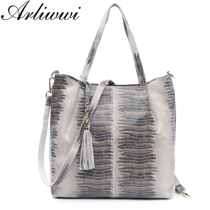 Arliwwi Big Elegance Shiny Embossed Real Leather Shoulder Bag Fashion Luxury Tote Genuine Suede Cow Leather