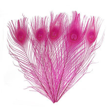10Pcs/lot Dyed Rose Peacock Feathers for Crafts 25-30CM 10-12inch Jewelry Making Decorative Plumas Plumes