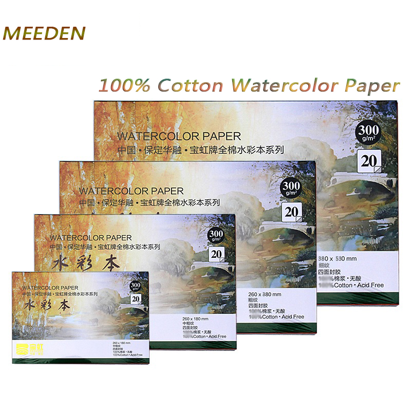 MEEDEN 300g/m2 Professional Watercolor Paper 20Sheets Hand Painted Water Book Creative Office school art supplies